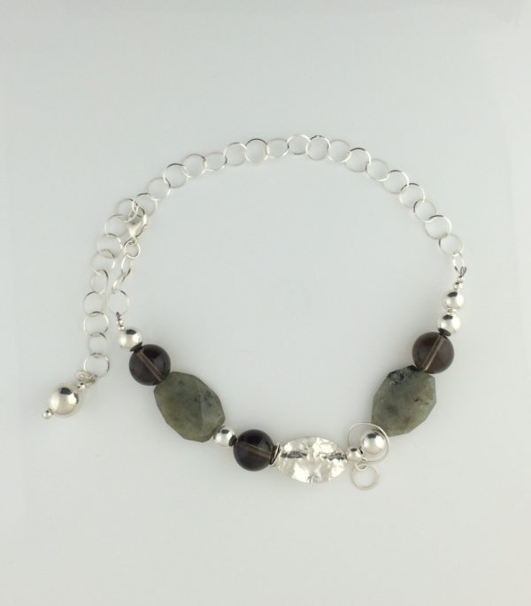 Sterling Silver, Agate and Smokey Quartz Necklace