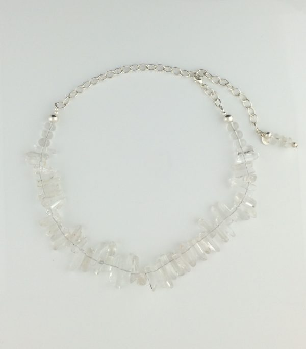 Sterling Silver and Quartz Crystal Icicle Necklace
