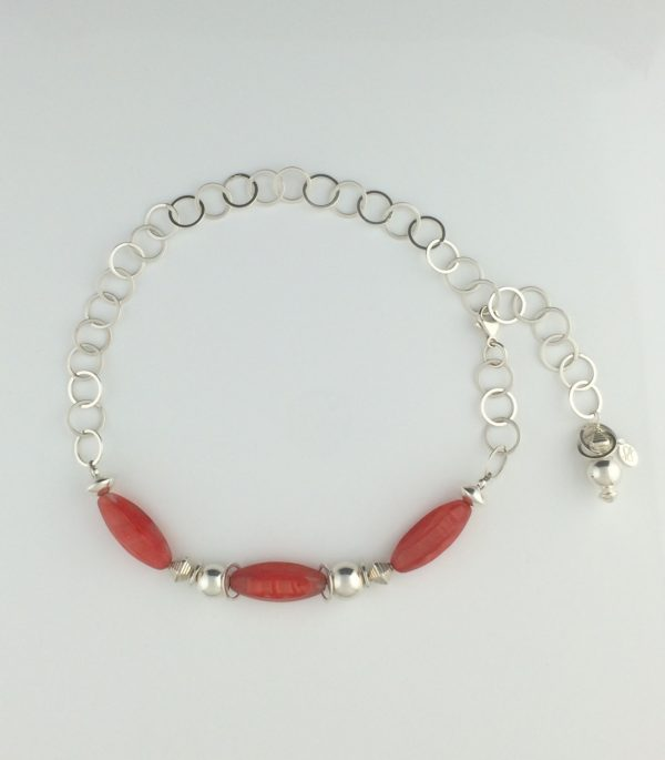 Sterling Silver Circle Chain and Coral Glass Necklace