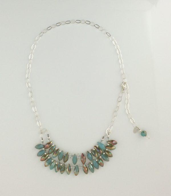 Sterling Silver, Czech Glass and Swarovski Crystal Necklace