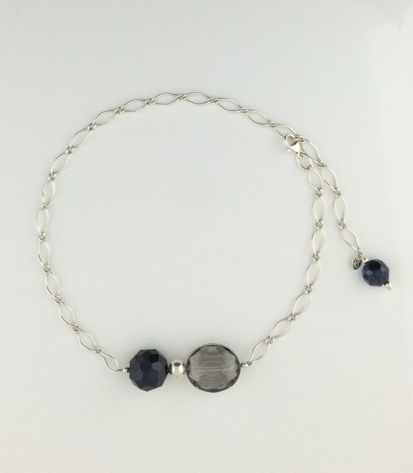 Sterling Silver Twist Chain and Chinese Crytsal Necklace