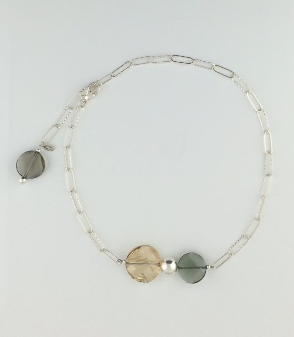 Sterling Silver and Swarovski Coin Crystal Necklace