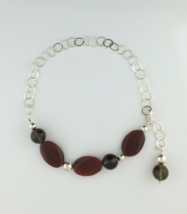 Sterling Silver Red Agate and Smokey Quartz Necklace