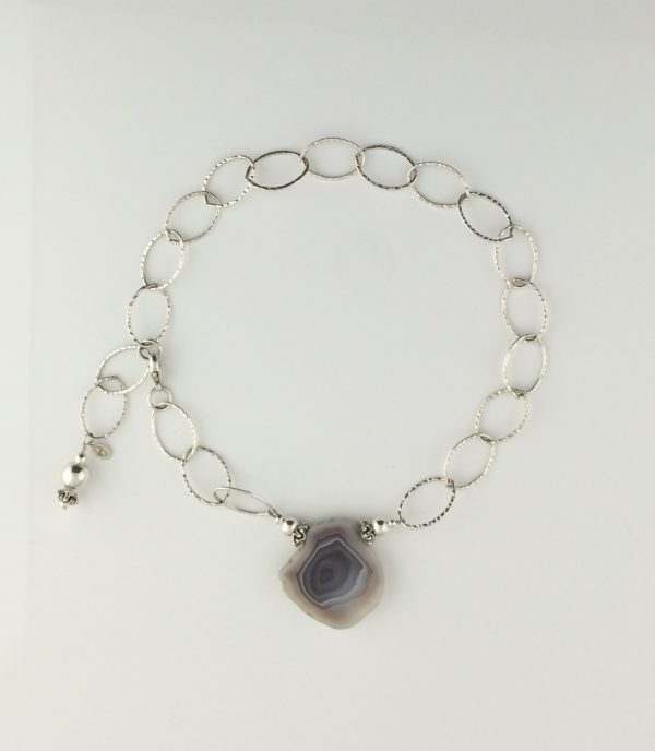 Sterling Silver Hammered Chain and Agate Necklace