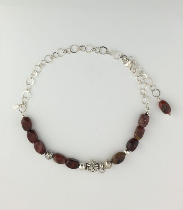 Sterling Silver Bali and Red Jasper Necklace