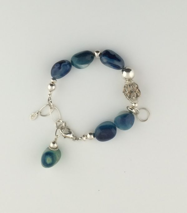 Sea Blue Chalcedony and Sterling Silver Bracelet
