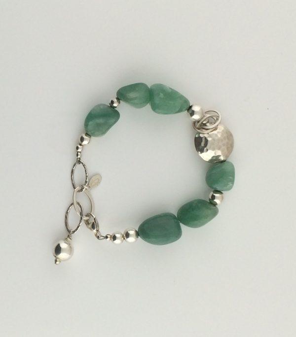 Hammered Sterling Silver and Natural Green Adventurine Bracelet
