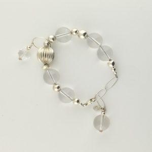Corrugated Sterling Silver and Natural Quartz Crystal Ball Bracelet