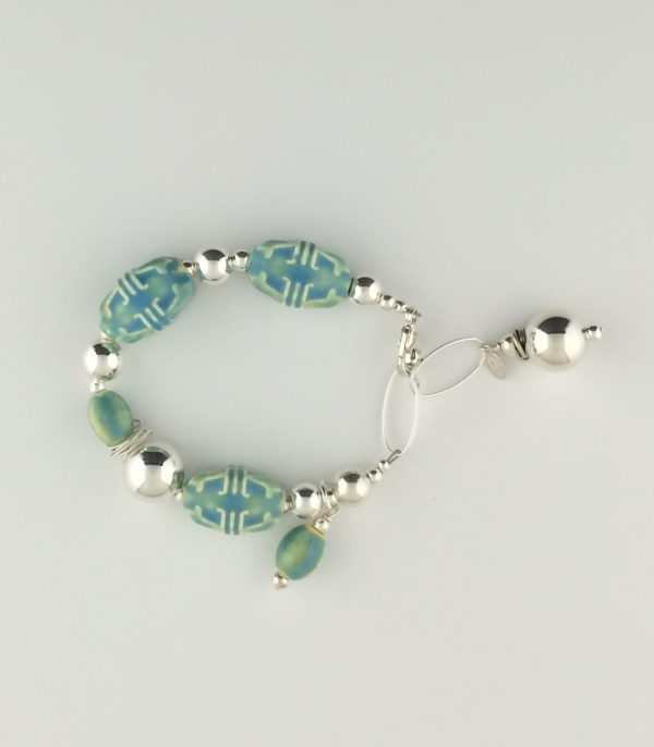 Sterling Silver and Ceramic Turquoise Bead Bracelet