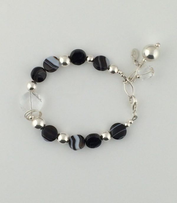 Sterling Silver Black Agate and Swarovski Coin Crystal Bracelet