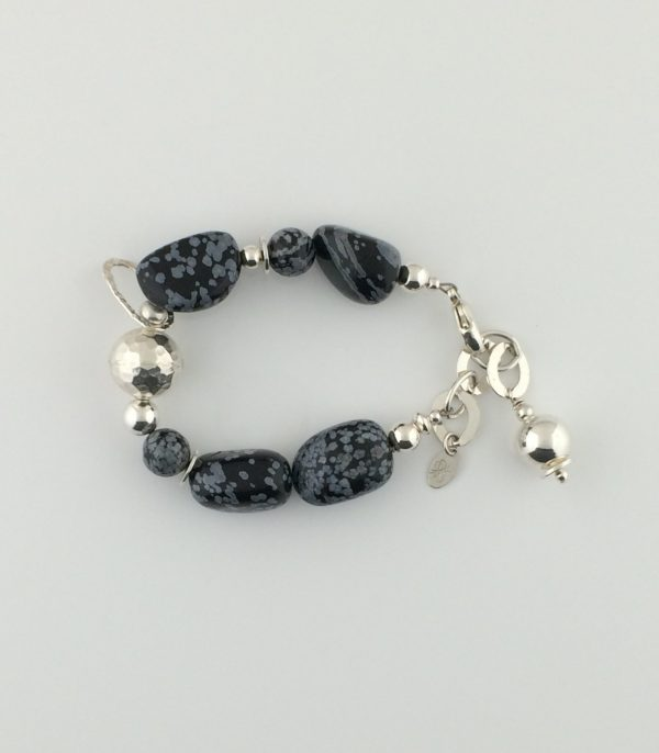 Tumbled Snowflake Obsidian and Sterling Silver Bracelet