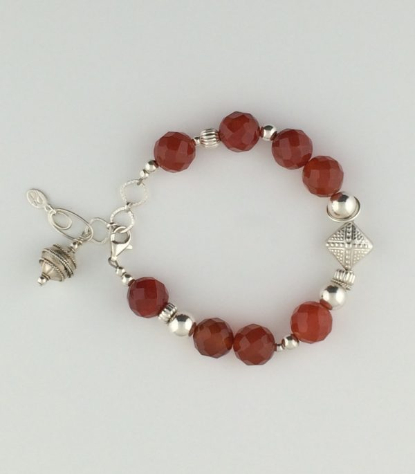 Faceted Carnelian and Sterling Silver Bali Bracelet