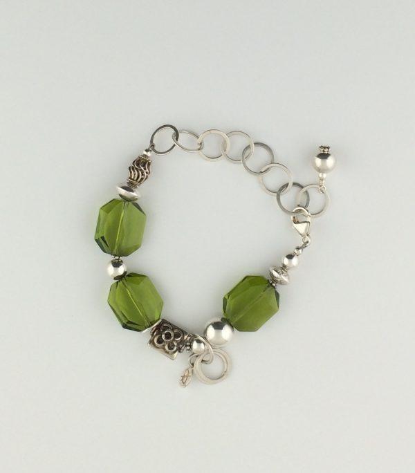 Sterling Silver Bright and Bali Bead with Olive Swarovski Crystal Bracelet