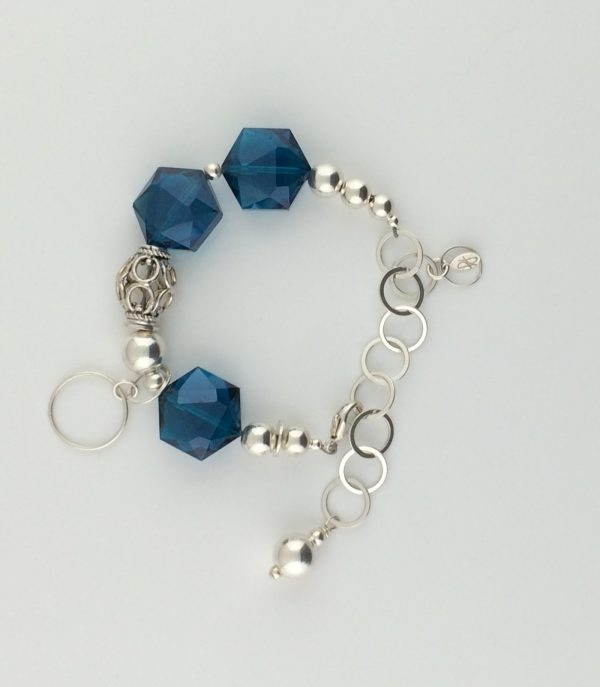 Teal Blue Polygon Chinese Crystals with Sterling Silver Accent Bracelet