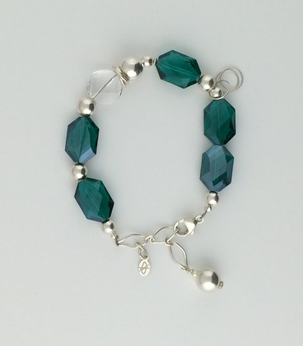 Teal Green Chinese Crystals, Swarovski Coin Crystal and Sterling Silver Bracelet
