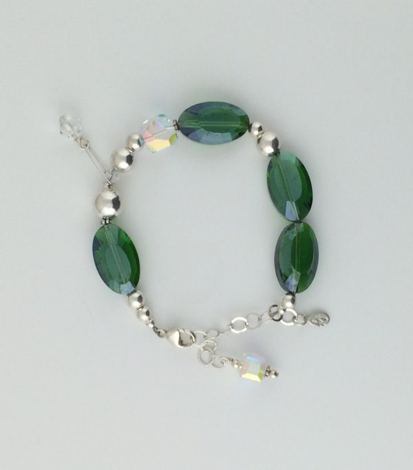 Emerald Green Chinese Crystals , Swarovski Crystal and Sterling Silver Bracelet