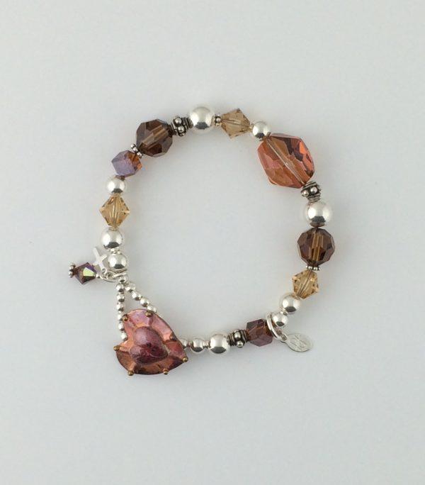 Gold and Copper Swarovski Crystals and Sterling Silver Bracelet