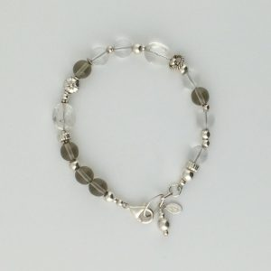 Druk Beads, Quartz Crystals and Sterling Silver Bracelet