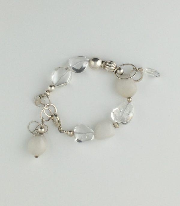 Tumbled Quartz Crystal and White Agate Stone Bracelet