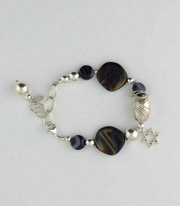 Ceramic Tiger Eye, Black Agate and Sterling Silver Bracelet