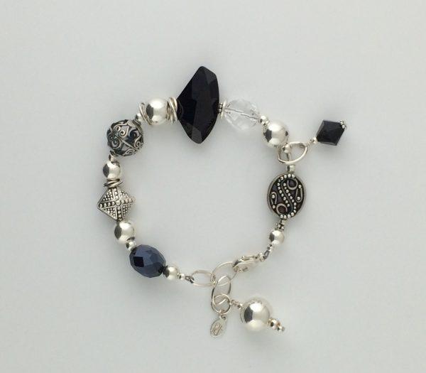 Asymmetrical Black and Clear Swarovski Crystal and Sterling Silver Bracelet