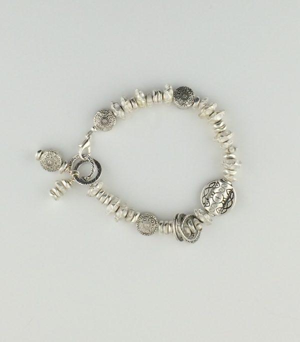 Asymmetrical Pewter Disk and Bead Bracelet