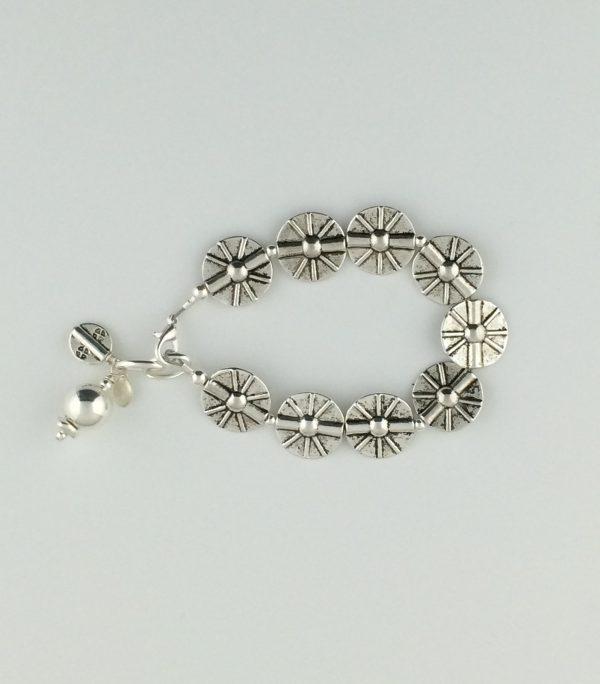 Pewter Sunburst Textured Disk Bead with Sterling Silver Bracelet