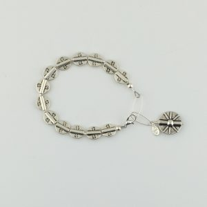Pewter Stamped Disk Bead with Sterling Silver Bracelet