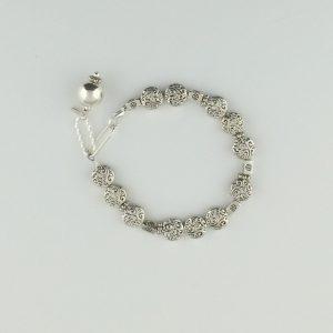 Pewter Swirly and Cube Bead Bracelet
