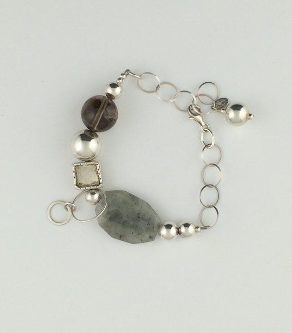 Sterling Silver , Agate and Smokey Quartz Bracelet