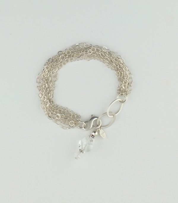 Multi Strand Sterling Silver Bracelet with Swarovski Crystal Dangle