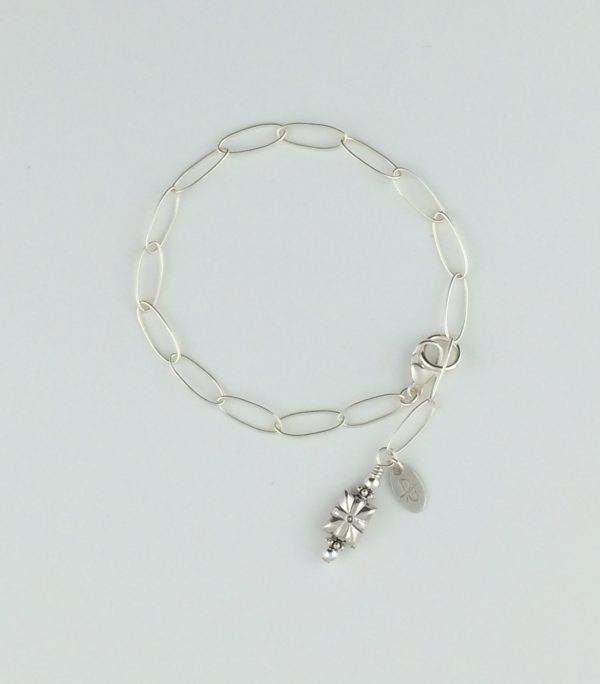 Sterling Silver Oval Chain and Bali Bead Bracelet
