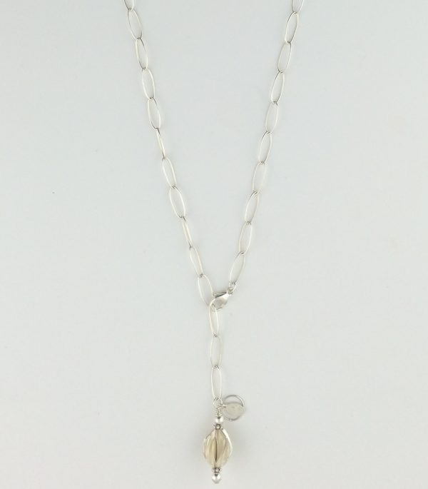 Sterling Silver Oval Chain Necklace with Petal Bead