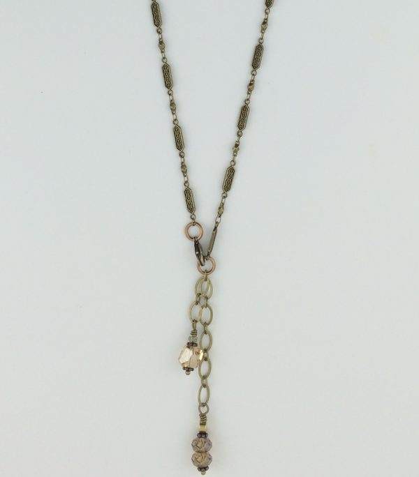 Antique ~ Look Brass Hexagon Bead Necklace with Swarovski Accents