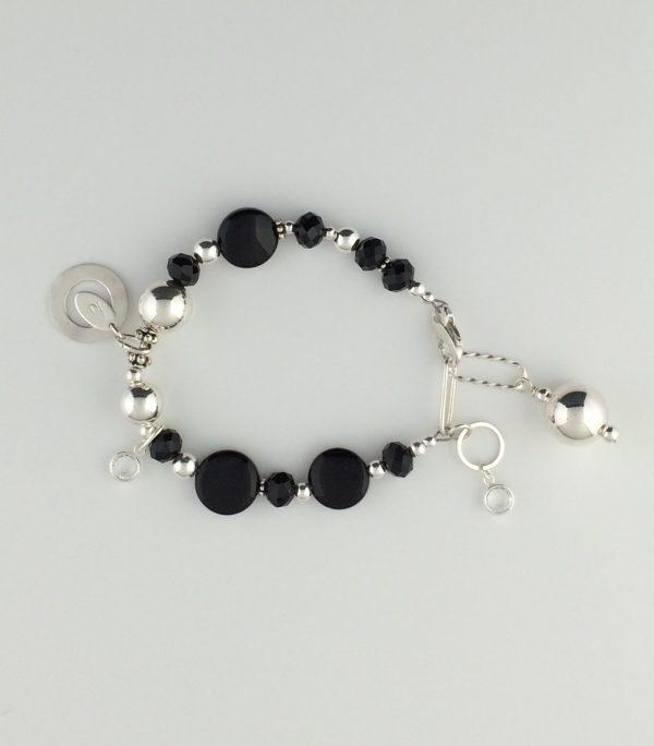 Sterling Silver , Black Agate and Swarovski Crystal Bracelet
