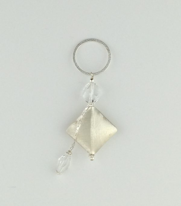 Brushed Sterling Silver Diamond Pendant with Swarovski Crystals and Dangle