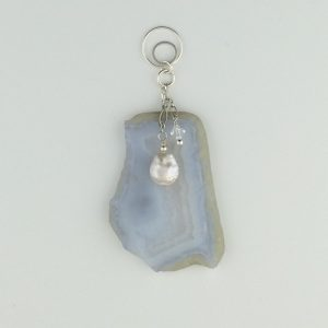 Sterling Silver, Agate Slice and Pearl Pendant