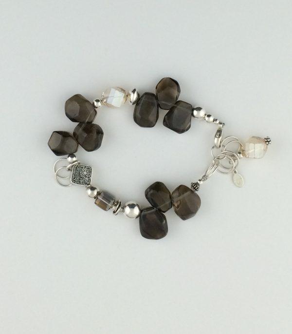 Sterling Silver , Tumbled Smokey Quartz and Swarovski Crystal Bracelet