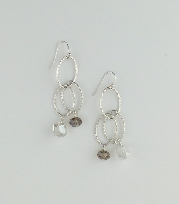 Hammered Sterling Silver and Swarovski Crystal Earrings