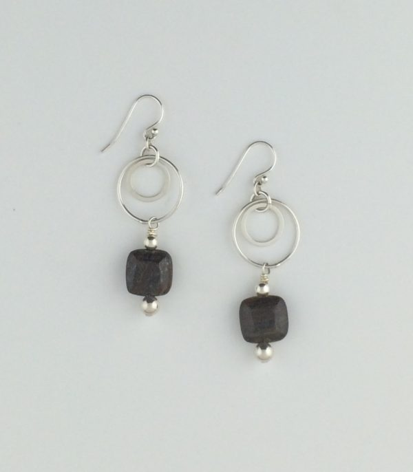 Sterling Silver Circle Link Earrings with Pyrite