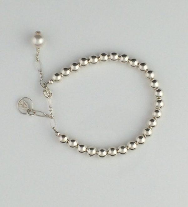 Sterling Silver Ball Bracelet with Swarovski Pearl Dangle