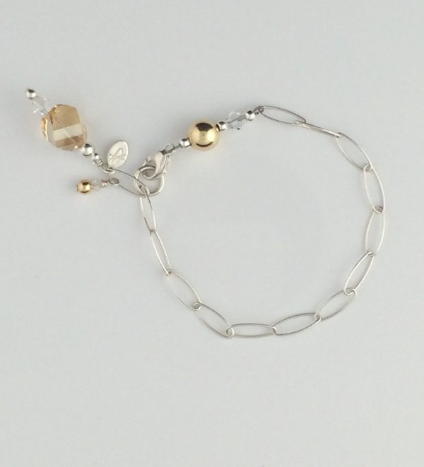 Sterling Silver Oval Chain , Gold and Swarovski Crystal Accent Bracelet