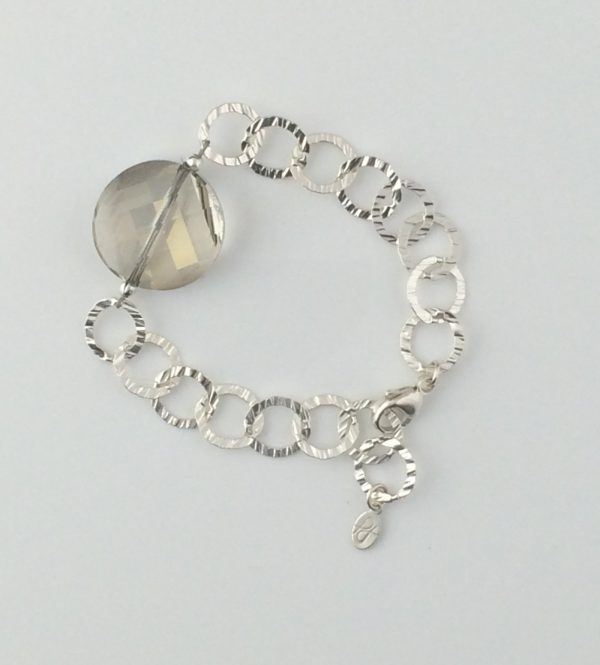 Sterling Silver Textured Chain Bracelet with Swarovski Coin Crystal