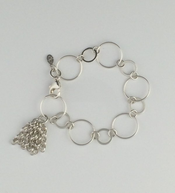 Sterling Silver Circle Chain and Tassel Bracelet