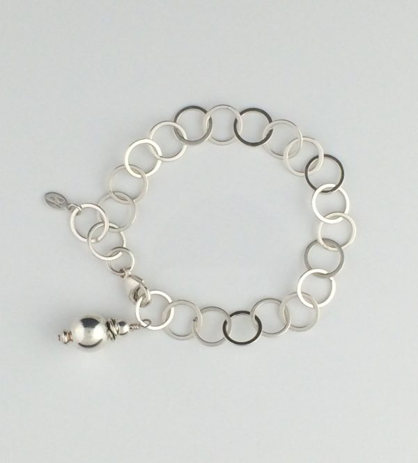 Sterling Silver Circle Chain and Silver Ball Extention Bracelet