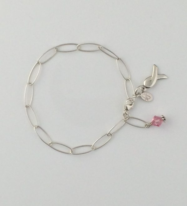 Sterling Silver Oval Chain Bracelet with Breast Cancer Awareness Dangle