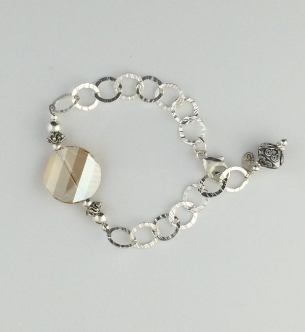 Textured Sterling Silver Chain , Swarovski Coin Crystal and Bali Accent Bracelet