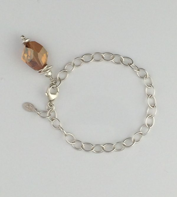 Sterling Silver Oval Chain with Copper Swarovski Crystal Bracelet