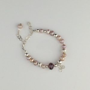 Sterling Silver , Pink Freshwater Pearls and Swarovski Crystal Bracelet