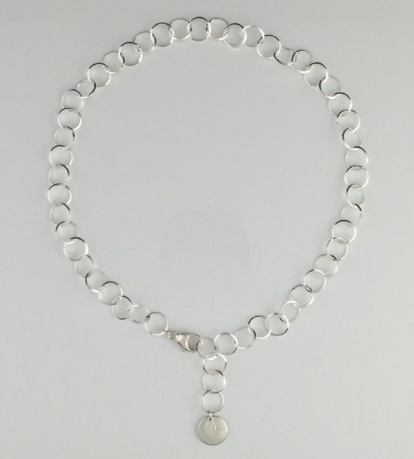 Sterling Silver Razor Edge Link Necklace with Disk Dangle
